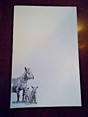 Goat Mom & Kids 3 Notepads 50 Sheets 8.5 x 5.5 New Black & White Drawing New