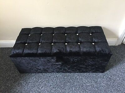 Fabulous Large Cubed Black Crushed Velvet Ottoman Box Toys Storage Ncnpc Chair Design For Home Ncnpcorg
