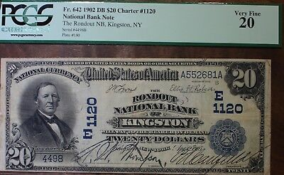 1902 National Bank Note Twenty Dollar FR# 642 DB Charter #1120 Kingston PCGS 20