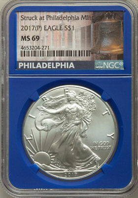 2017 Three Mint Silver Eagle Set, (W) (P) (S), No Spots or Toning, NGC MS 69