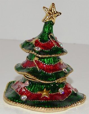Solid Brass Enamelled Christmas Tree With Jewels Trinket Box