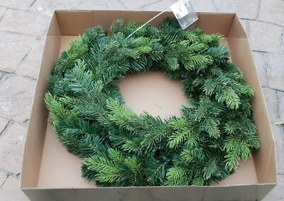 Christmas Wreath Plain Green with Built in Lights Door Decoration 500mm