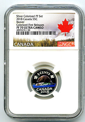 2018 Canada 5 Cent Silver Colored Proof Ngc Pf70 Ucam Nickel First Releases Rare