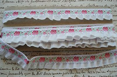 1y VINTAGE FRENCH PINK ROSES FLORAL RUFFLE JACQUARD RIBBON TRIM ANTIQUE DOLL
