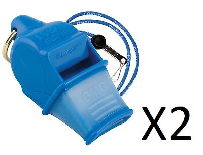 Fox 40 Sonik Blast CMG 2-Chamber Pealess Whistle with Lanyard, Blue (2-Pack)