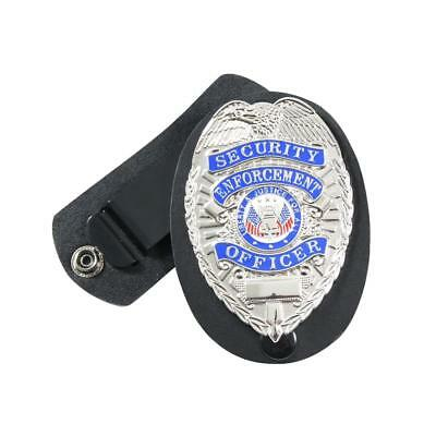Rothco Police Leather Clip On/Swivel Badge Black Holder