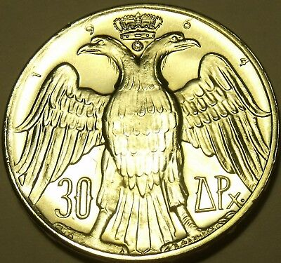 Greece 30 Drachmai, 1964 Gem Unc Silver~Constantine & Anne-Marie Wedding~Fr/Ship