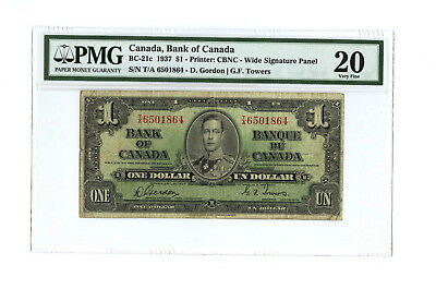1937 $1 CANADA PMG 20 BC-21c CHOICE FINE BANKNOTE WIDE SIGNATURE S/N T/A 6501864