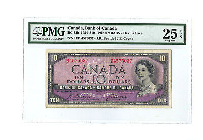 1954 $10 CANADA PMG 25 EPQ DEVIL'S FACE BC-32b BANKNOTE RARE S/N H/D 4575037