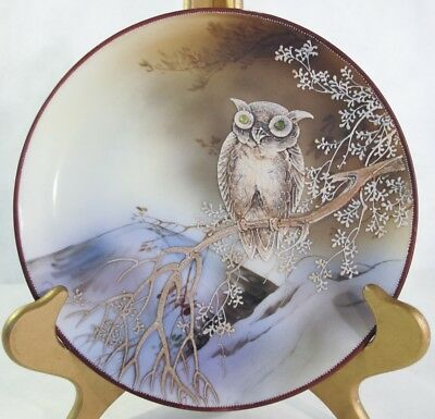 Nippon, Moriage Owl Charger With Gem Eyes.