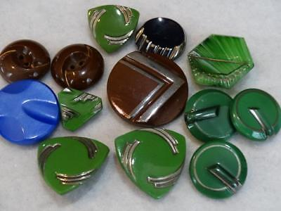STUNNING LOT ANTIQUE VINTAGE ART DECO FANCY BUTTONS Green Brown Blue Lusters