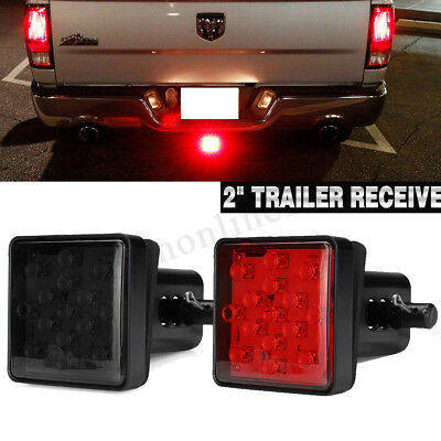 2'' Trailer Hitch Receiver Cover With 15 LED Brake Leds Light Tube Cover 4