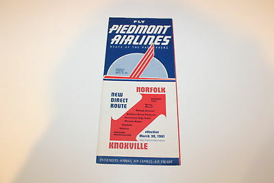 Vintage Airline Timetable Piedmont Airlines March 30 1961