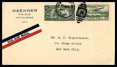 Haehner Port Au Prince 1938 Duplex H Cancel On Air Mail Ad Cover To Nyc Ny Usa