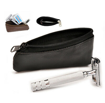 Leather Safety Razor Zipper Travel Storage Case - Waterproof  100% Real Leather