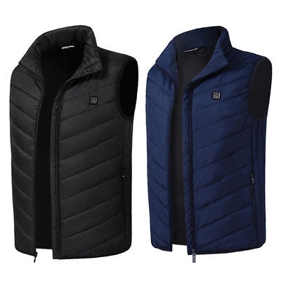 USB Electric Heated Warm Vest Men Women Winter Rechargeable Heating Coat Jacket