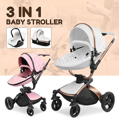 Baby Stroller Pram AULON 3 in 1 leather Carriage Infant Foldable Travel Car Seat