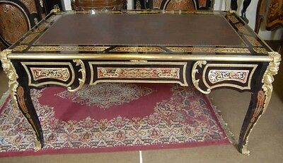 Large Boulle Desk - French Inlay Partners Desks Bureau Plat