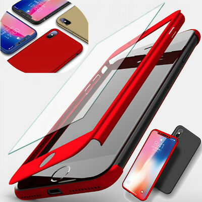 360° Full Cover Hybrid Case + Tempered Glass For iPhone XS Max XR X 8 7 6s Plus