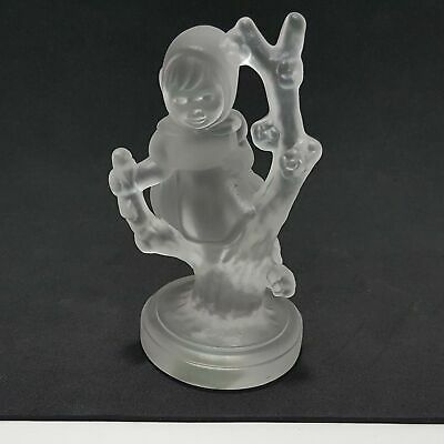 "Goebel Hummel Apple Tree Girl Crystal Frosted Glass Paperweight Figurine 3.75"" H"