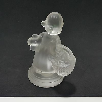 "Goebel Hummel Flower Girl Crystal Frosted Glass Paperweight Figurine 3.50"" H"