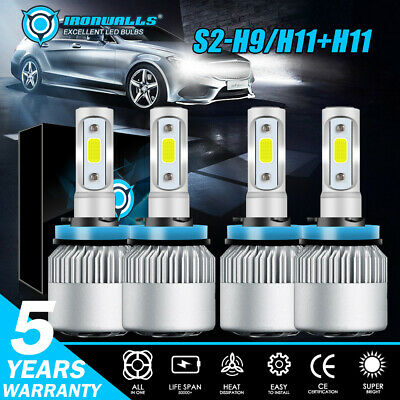 4x H11/H9/H8 Combo LED High/Low Beam Headlight Fog 6500K for 07-18 Nissan Altima