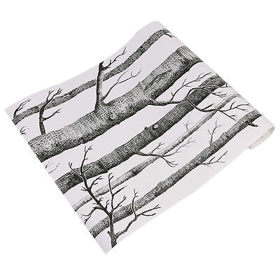 53cmx10m Rustic Forest Birch Tree Wallpaper Roll Black White Woods Modern Decor
