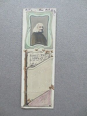 Vintage Bookmark Book Post LISZT Composer Music 1900s Edwardian Postcard
