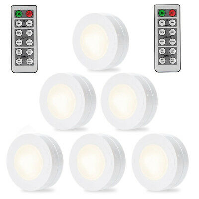 6 Pack LED Wireless Puck Light with Remote Control White Color Under Cabinet US