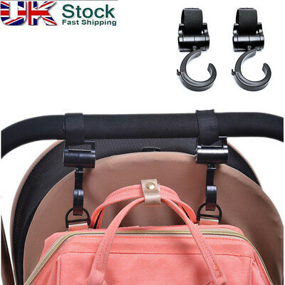 2PC Buggy Hooks Large Pushchair Shopping Bag Hook - Mum Pram Handy Carry Clip UK