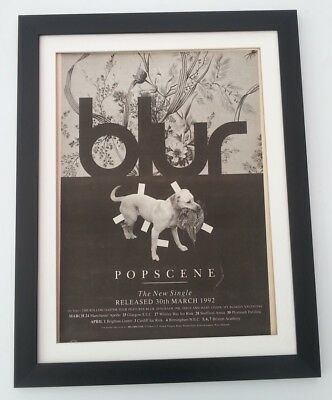 BLUR Popscene 1992*ORIGINAL*POSTER*AD*FRAMED*FAST WORLD SHIP