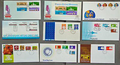 Singapore: Nine assorted First Day Covers (#9)