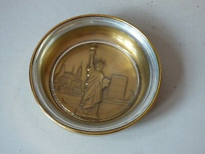 Brass Glass Statue Liberty Usa Tobacciana Ashtray Trinket Pin Dish Paperweight