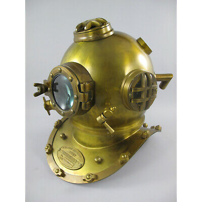 Taucherhelm XL Mark V Navy Diving Helmet 1897 Messing brüniert Retro Original-Gr