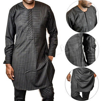 Men's Kaftan Native Wear African Clothing African Outfit Striped Causal Tops UK