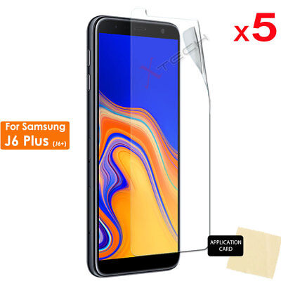 5 Pack of CLEAR Screen Protector Cover Guards For Samsung Galaxy J6 Plus, J6+