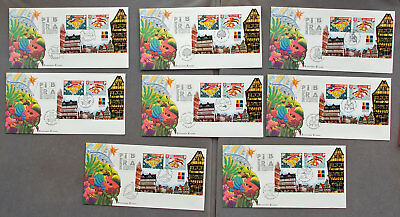 Singapore: Eight with different postmarks First Day Covers (#29)