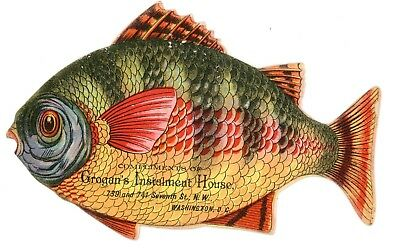Rare Die Cut Fish Trade Business Card Grogan's Washington, DC c 1880s