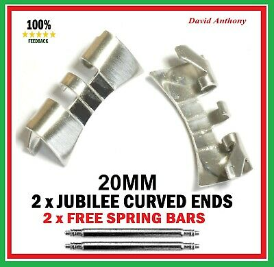 For JUBILEE WATCH BRACELET CURVED ENDS (2) 18mm 20mm or 22mm  Stainless Steel