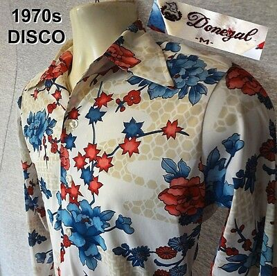 Man's 70s VINTAGE DISCO SHIRT by Donegal Stretchy w/ Floral BIG COLLAR Sz M