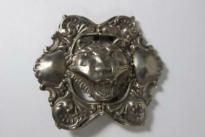 Antique Victorian Period Sterling Silver Lion Repousse Buckle 16.5 Grams