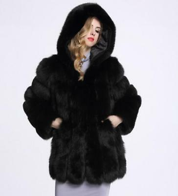 Women's Chic Faux Fur Jacket Hooded Solid Loose Long Sleeve Coat Winter Warm Hot