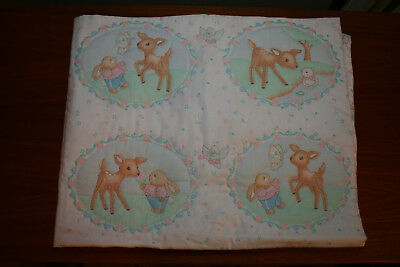 Handmade Quilted crib blanket, Pastel colors with fawns & bunnies
