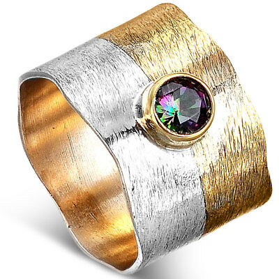 925 Sterling Silver Ring Golden Wide Band Multi Color Mystic Topaz Stone Sz 7 9