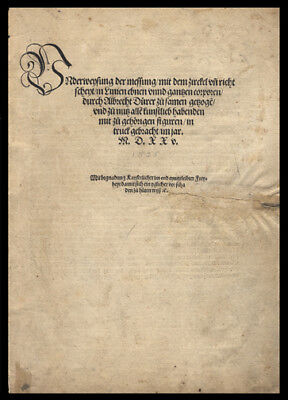 Page From A 1525 1st Edition Albrecht Durer Four Books on Measurement Science