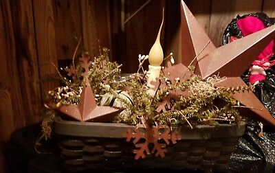 Primitive Handmade Winter Christmas lighted Stars, Bells and Snowflakes  Basket