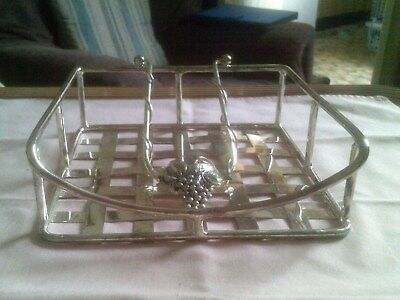 Silea Silver Plated Basket Style Napkin Tray With Grape Vine Design