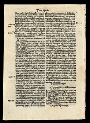 St Jerome's Prologue to St Paul's Epistles 1519 Bible Leaf New Testament