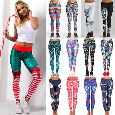 Women Christmas Xmas Santa Party Printed Stretchy Leggings Trousers Tight Pants