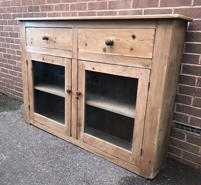 Antique Pine Kitchen Cupboard Dresser Sideboard With Drawers Glass Doors Display